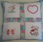 PERSONALISED EMBROIDERED CUSHION (Rabbit, Teddy & Rabbit and Fairies)